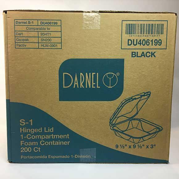 1 compartment black 9 x 9 foam container 200 ct pro edge paper