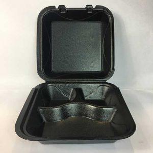 "3 Compartment Black 9"" x 9"" Foam Container (200 ct.)"