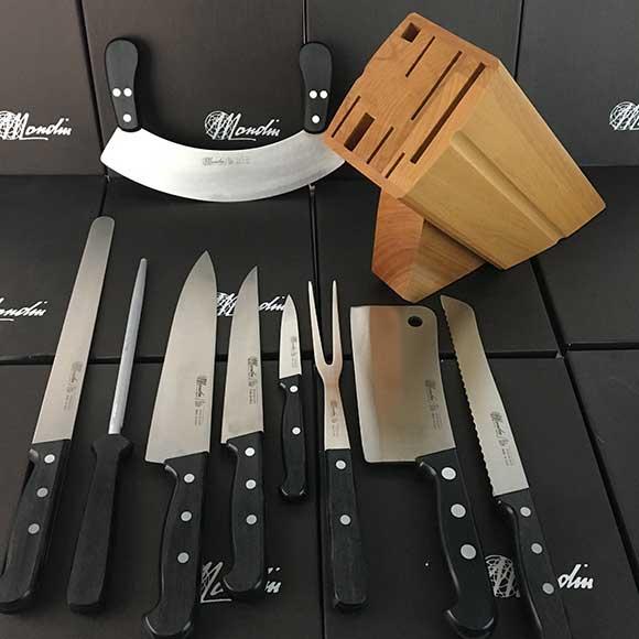 9 Piece Mondin Wood Block Knife Set