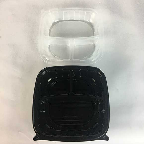 """3-Compartment 9x9x3"""" Plastic Black Square Microwavable Hinged To-Go Container (112 ct.)"""