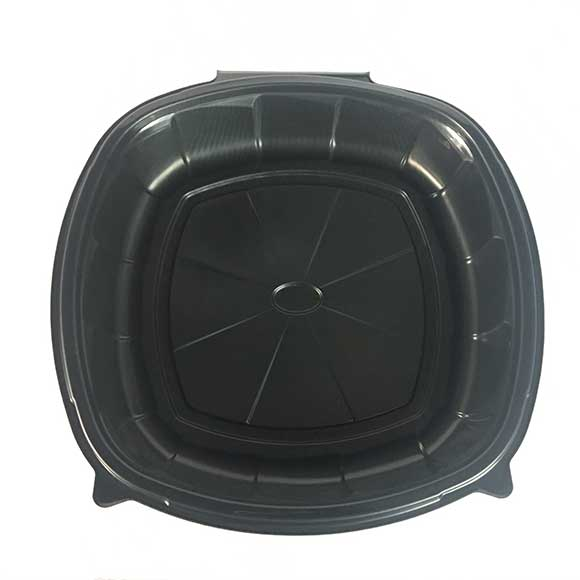 """1-Compartment 10x10x3"""" Plastic Black Square Microwaveable 64 oz. Hinged To-Go Container (148ct.)"""
