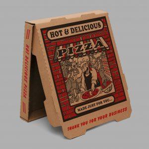 "8"" 10"" 12"" 14"" 16"" 18"" Brown Red Brick B-Flute Pizza Box (50 ct.)"