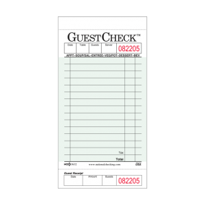 Guest Check 1 Pt. Green & White w/ Receipt (50 x 50ct.)